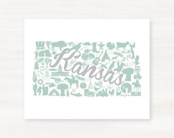 Kansas Landmark Custom State Map Art Print - 8x10 Giclée Print - Great Graduation Gift Idea - Unique Dorm Decor