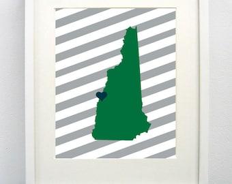 Hanover, New Hampshire State Giclée Map Art Print  - 8x10 - Graduation Gift Idea - Dorm Decor