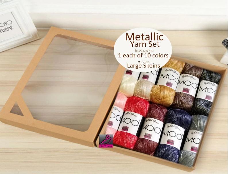 Wool Yarn Crochet Yarn GuChet Metallic Yarn Set 1 Ball of each 10 Colors Acrylic Yarn Gold Yarn MOD Knitting Yarn Silver Yarn