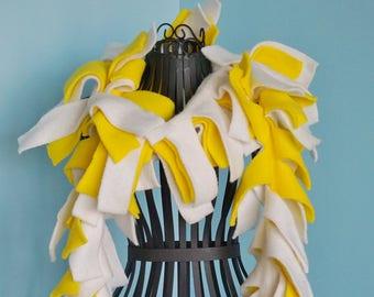 Sale - Handmade Yellow and White Fleece Boa Scarf
