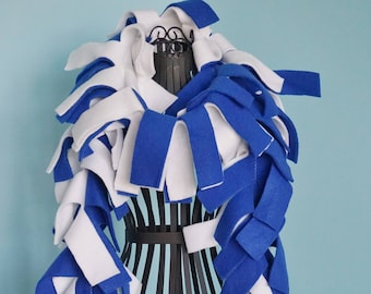 Handmade Solid White and Blue Fleece Boa Scarf