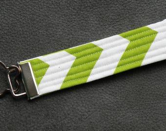Lime Green White Chevron Fabric Key Fob Wristlet