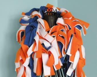 Handmade Solid Orange, Blue and White Fleece Boa Scarf