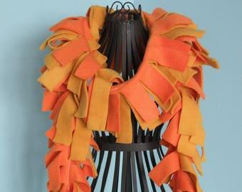Handmade Solid Orange and Gold Fleece Boa Scarf