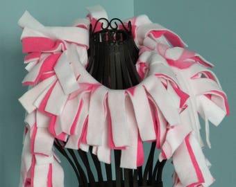 Handmade Breast Cancer Awareness Pink Ribbon Fleece Boa Scarf