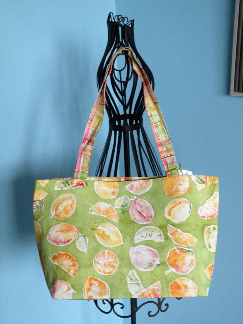 Handmade Large Lined Green Yellow Citrus Fruit /& Multi Colored Plaid Shopping Tote