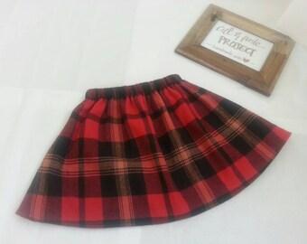 30f3819a23 Girls skirt   Baby skirt   Toddler skirt   6mo - 4T   plaid skirt   flannel  skirt   red and black