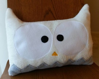 Owl Decorative Pillow   Owl Nursery Pillow   Home Decor   Nursery Decor   Animal Pillow   White Owl