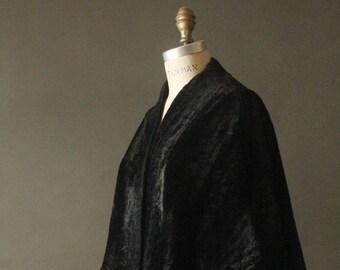 Vintage 50's Reversible Black Velvet and Faux Fur Wrap Stole