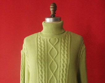 1b9145d827d3c Vintage 90 s Chartreuse Lime Green Cotton Cable Knit Turtleneck Pullover  Sweater by Wainscott