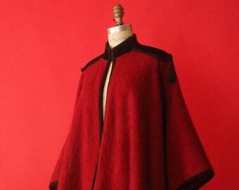 2b9904a2a5f Vintage 70's Designer Deep Red Mohair and Velvet Fringe Tassel Cape by Yves  Saint Laurent Rive Gauche