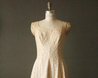Vintage 50's Handmade Cream Lace Formal Dress