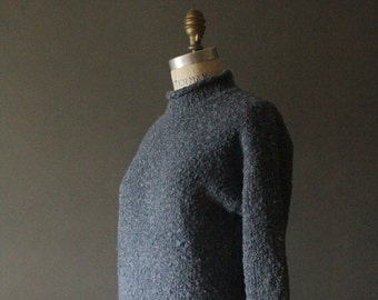Vintage 90's Dusty Blue Knit Mock Neck Pullover Sweater by Styles to Go, size S