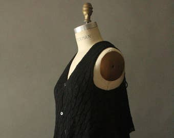 be19089e52f6 Vintage 90 s Black and Grey Avant Garde Button Up Cable Knit Sweater Tank  Vest by Y s Yohji Yamamoto