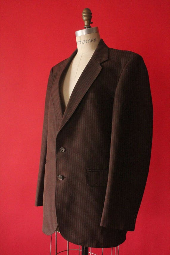 Vintage 70's Chocolate Brown Pinstripe Men's Suit