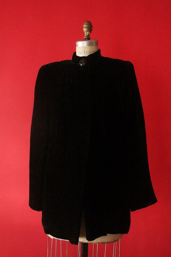 Vintage 30's Black Silk Velvet Opera Coat Evening