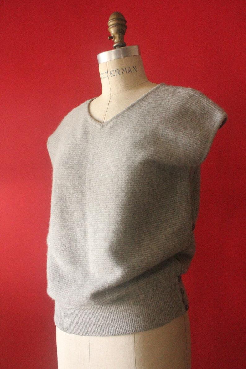 88b74128d7f Vintage 80 s Grey Knit Ribbed Lambswool and Angora Short