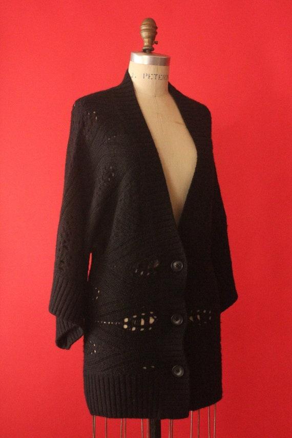 Rebecas Vintage 90's Black Knit Button Up Alpaca and Merino