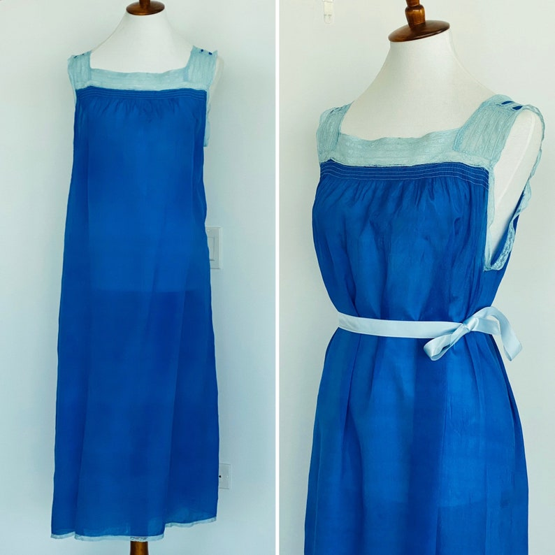 20s Silk Nightgown Hand Dyed to blue  Blue Silk Nightgown image 0