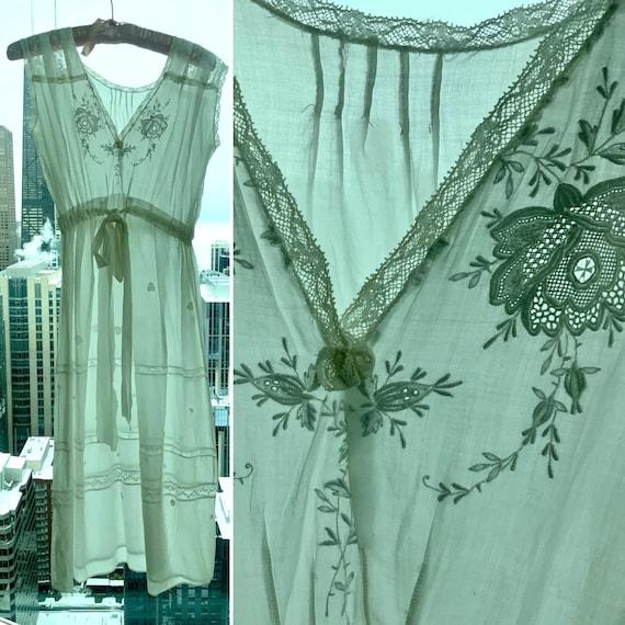 Edwardian Day Dress - Edwardian White Cotton Day … - image 2