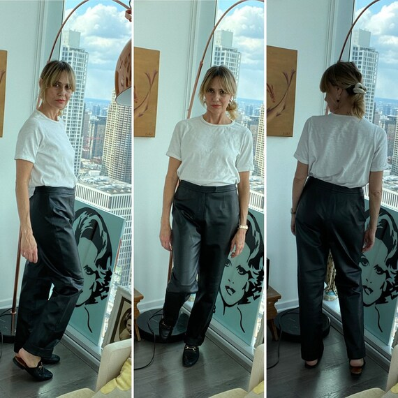 90s Leather Pants - 90s leather Trousers - Vintage