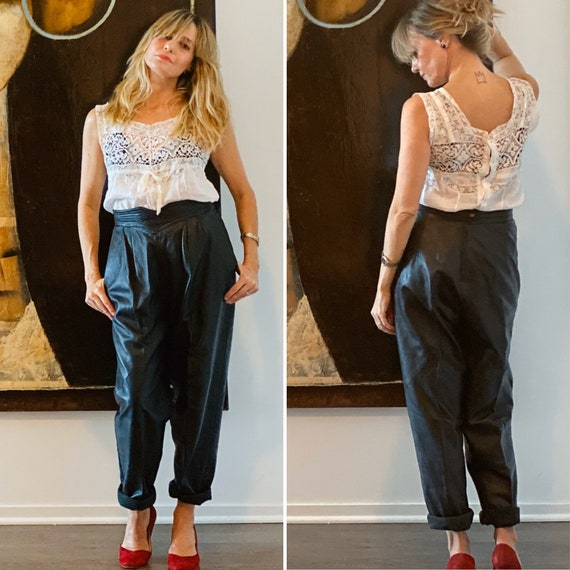 80s Leather Pants - 80s Leather Trousers - 1980s L