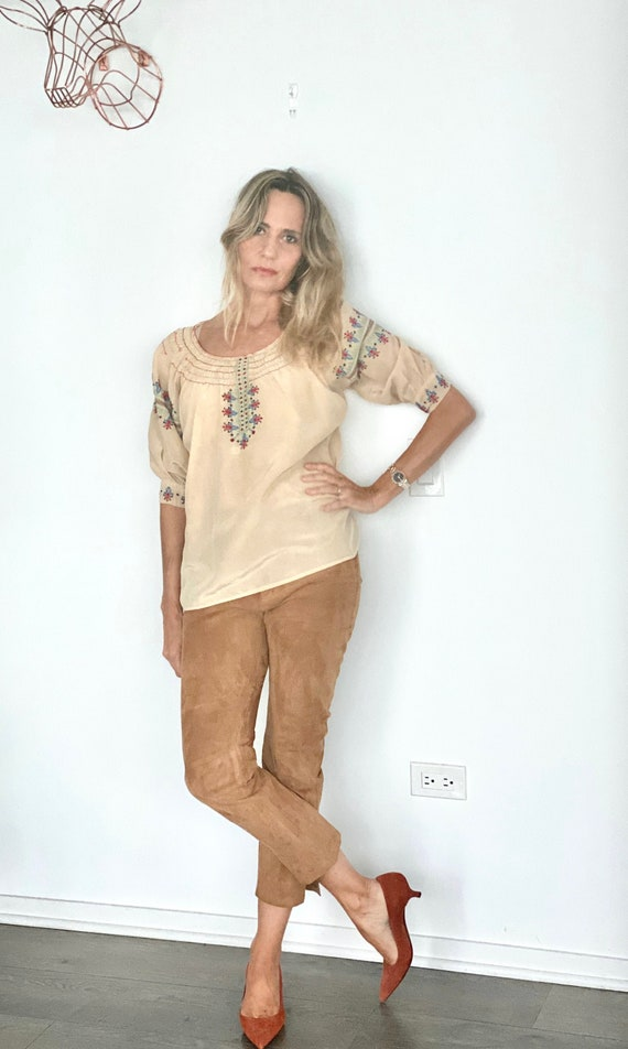 Antique Mexican Blouse - 30s Silk Mexican Blouse -
