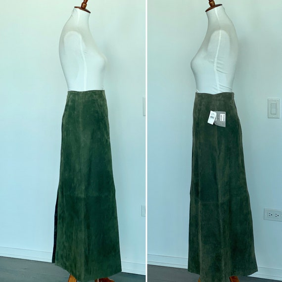 Vintage Suede Maxi Skirt - Suede Long Skirt - Gree