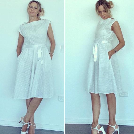 60s Summer Dress - 60s White Dress - Cool 60s Dres