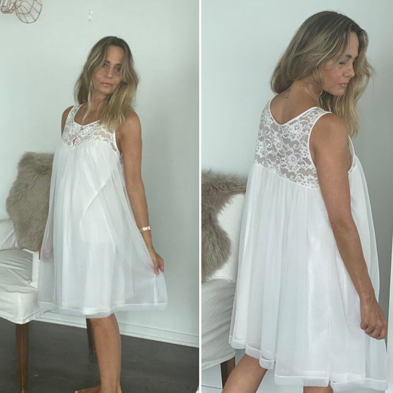 60s Nightgown - 60s Bridal Nightgown - 60s White N