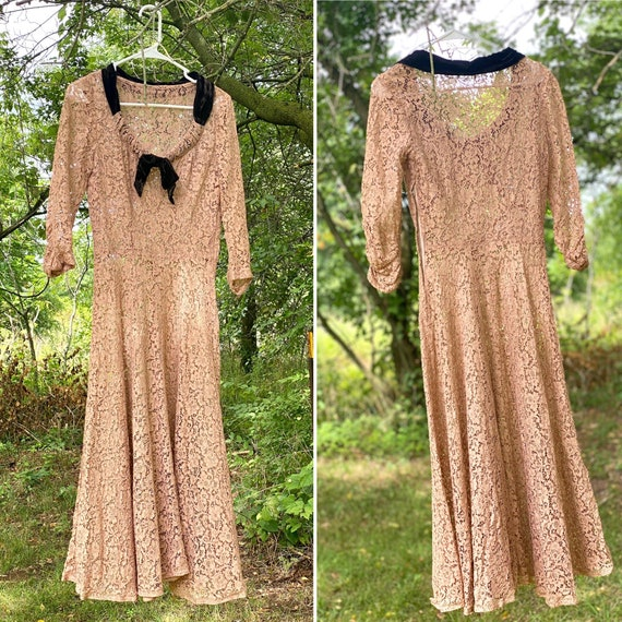 30s Evening Dress - 30s Dress - 30s Lace Dress - … - image 10