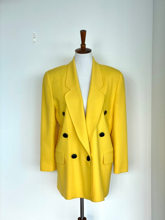 80s Neon Blazer - 80s Double breasted long blazer