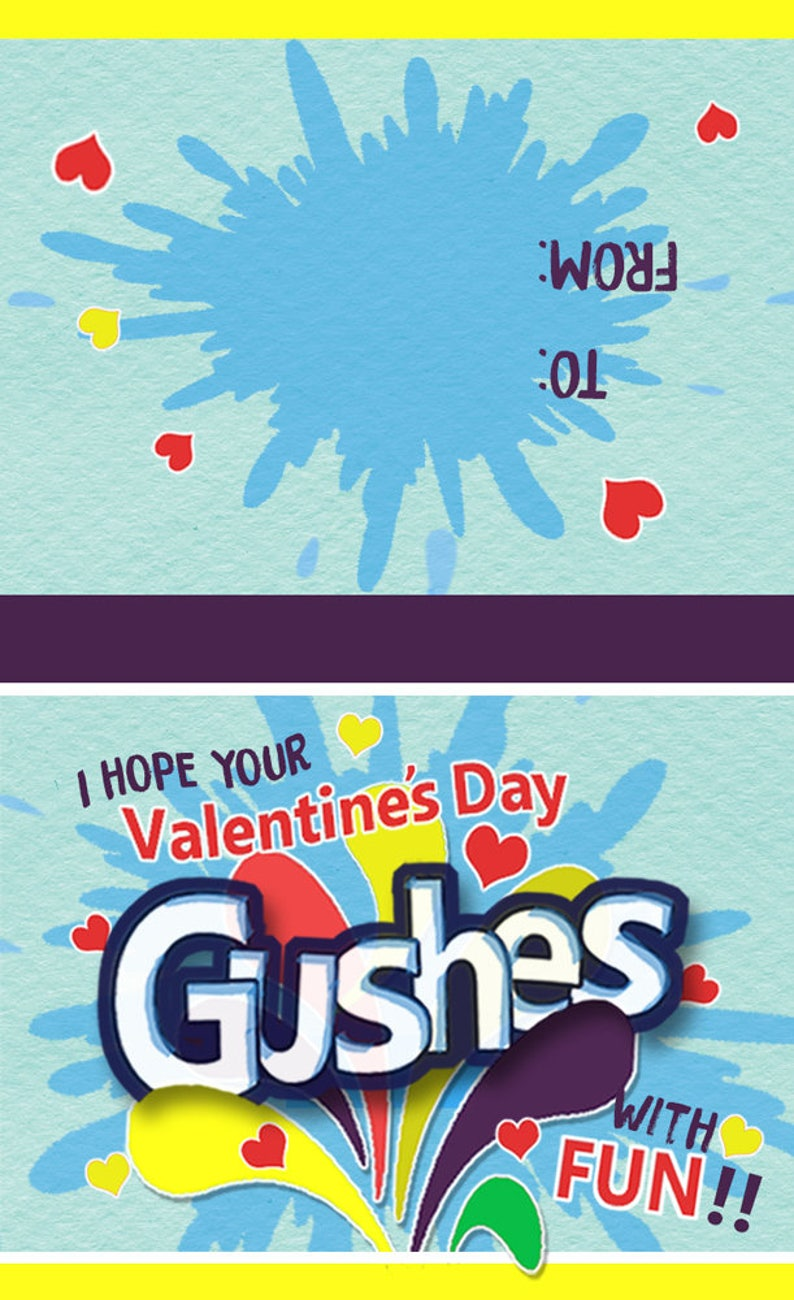 Personalized Classroom Valentines Instant Download Gushers Valentine Topper Printable Healthy Snack