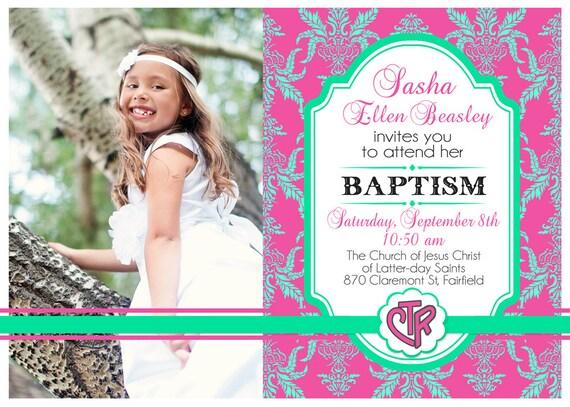 Invitación de bautismo para imprimir con foto LDS | Etsy