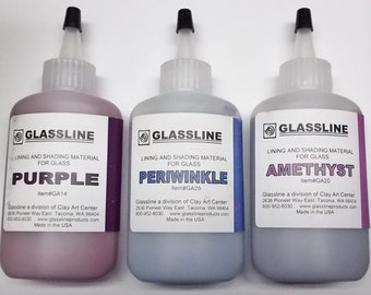 Glassline 'Shades of Purple' Fusing Glass Paints Set - Purple, Periwinkle and Amethyst