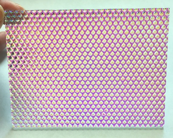 DichroMagic COE 96 Magenta Teal on Clear Ripple Fusible Dichroic Glass 4 x 4 ~ 3mm