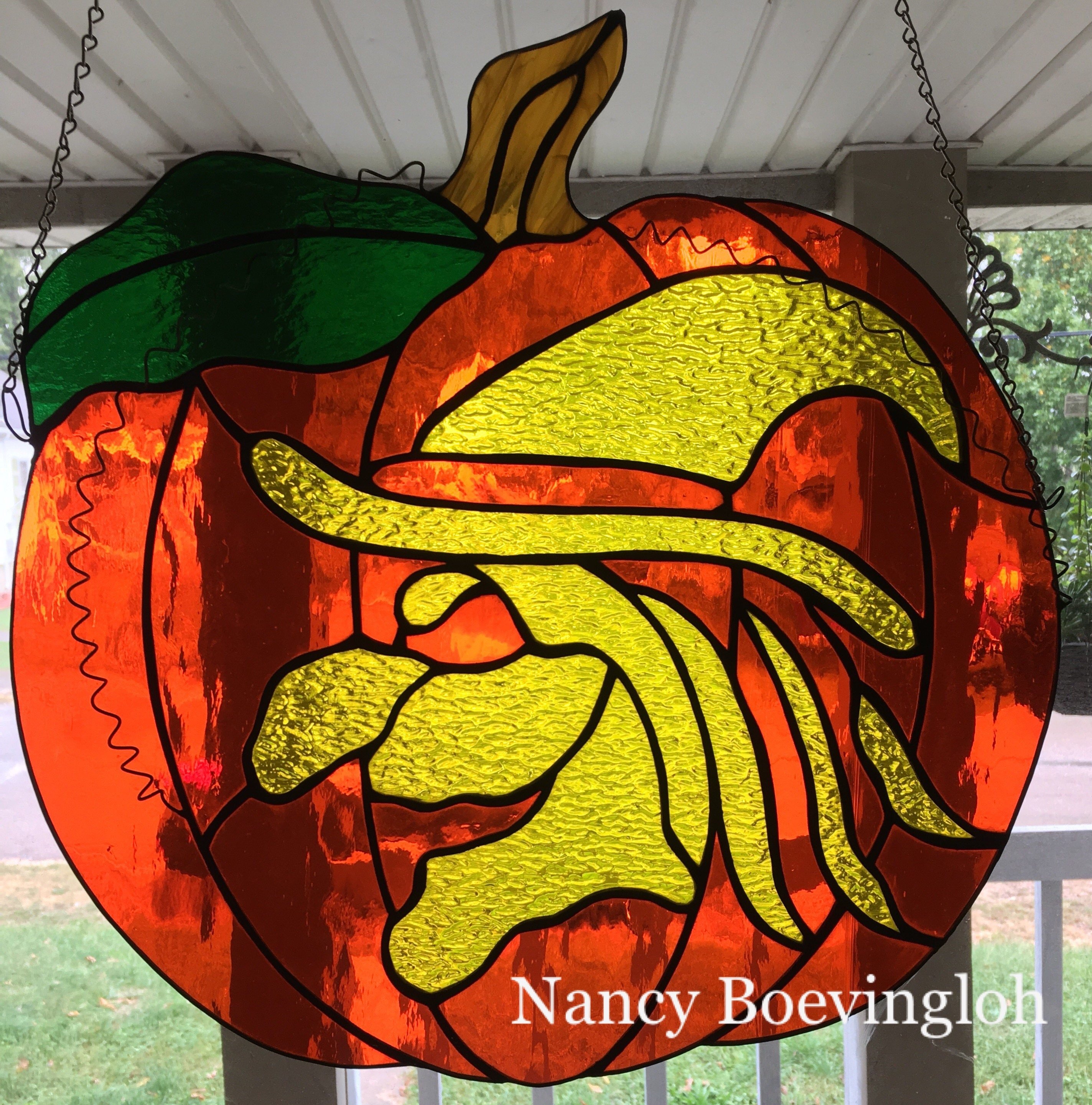 Large Stained Glass \'Witch Pumpkin\' Halloween Spooky | Etsy