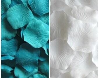 841f5707658 Silk Rose Petals Mix 300 Teal Blue 200 White Wedding Decorations Flower Girl  Basket