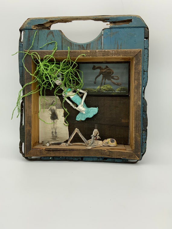The Pirate's Love, altered orange crate assemblage art