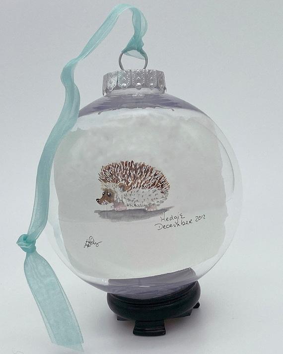 Watercolor hedgehog Glass Bubble Ornament