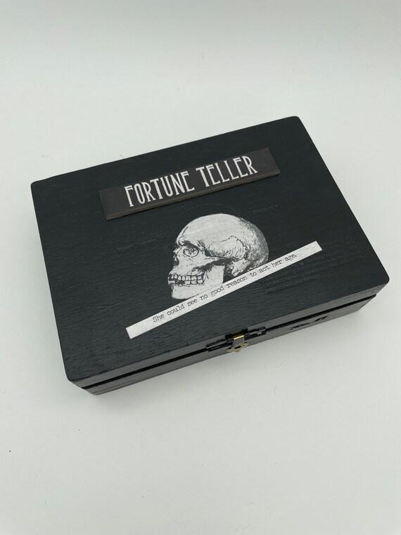 Fortune Teller voodoo doll in altered cigar box mixed media art