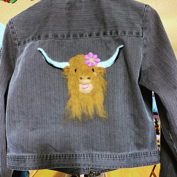 Corded denim Jacket with needle felted cow