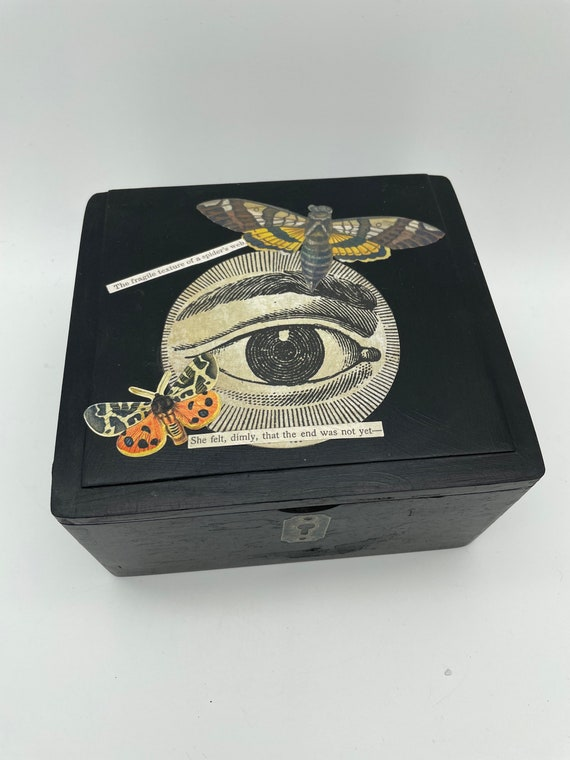 "Altered cigar box voodoo doll mixed media art ""The Eye"""