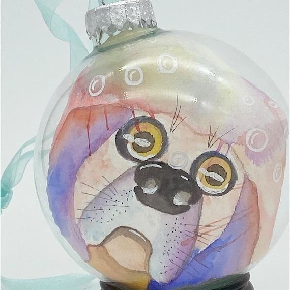 Beagle watercolor, glass ornament