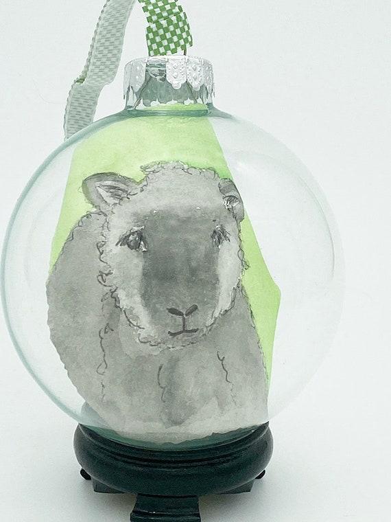 Watercolor glass lamb Ornament