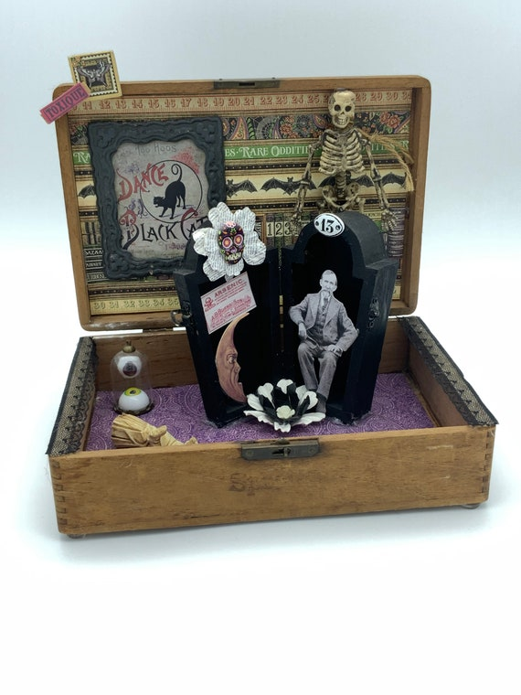Lucky No. 13, altered cigar box assemblage art