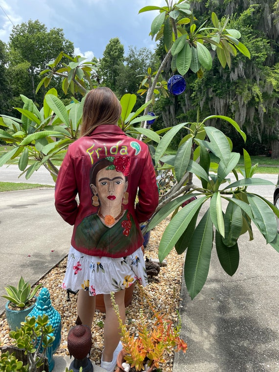 Hand painted red leather Frida K jacket