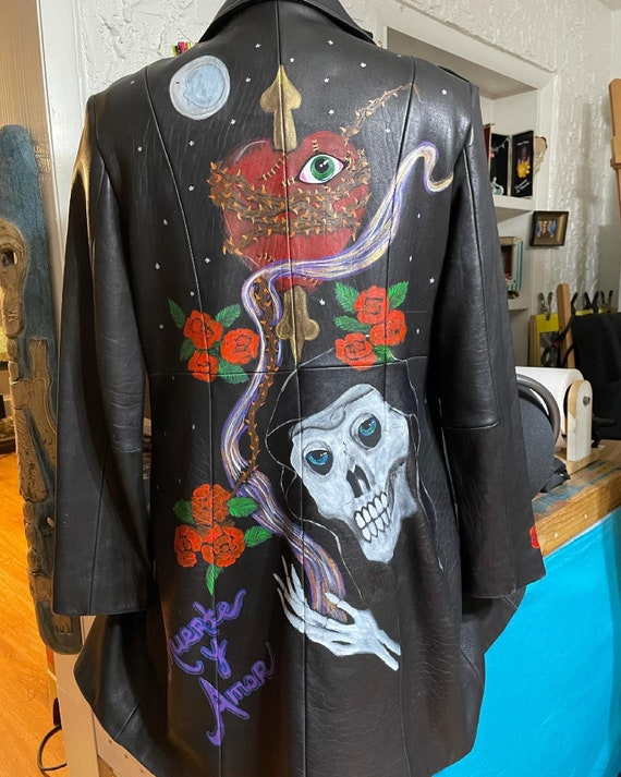 Painted leather trench coat