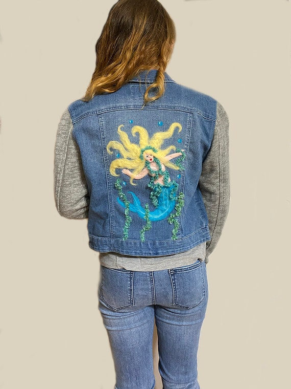 Beautiful vintage felted Denim Jacket