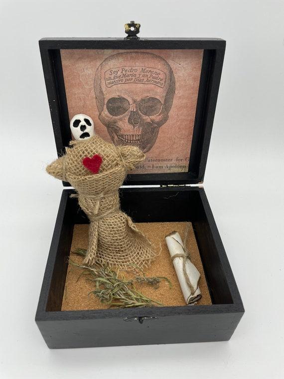 Mischievous altered cigar box voodoo doll mixed media art